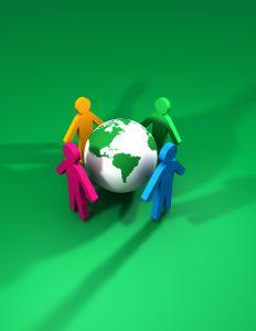 friends surrounding a globe