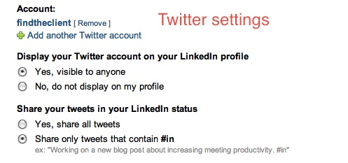 twitter settings on LinkedIn