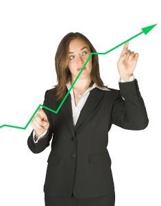 woman pointing at graph