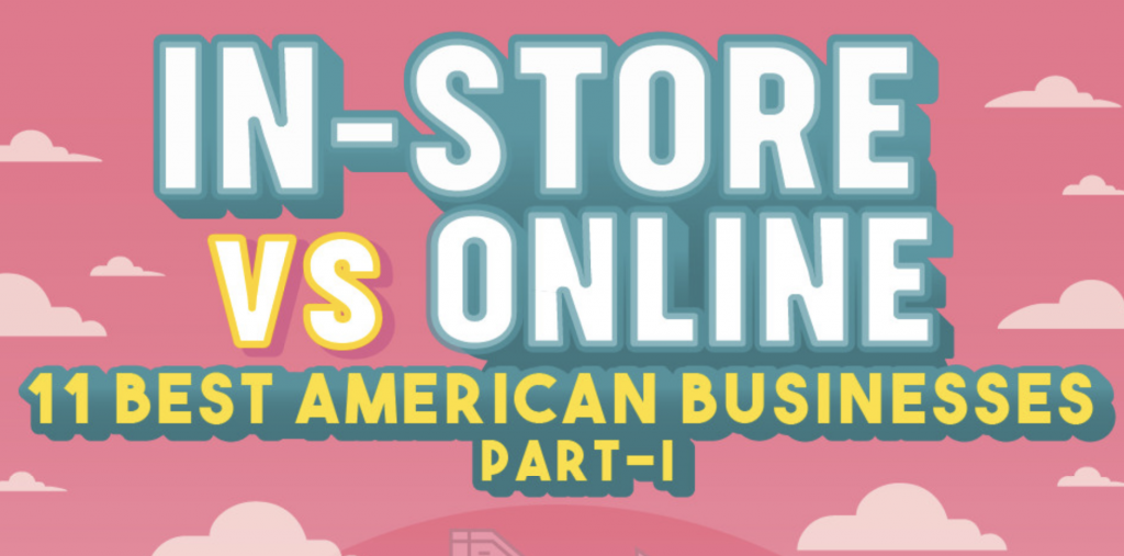 In-store vs online shopping infographic.
